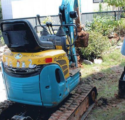 ④ビオトープの小川を掘る方法