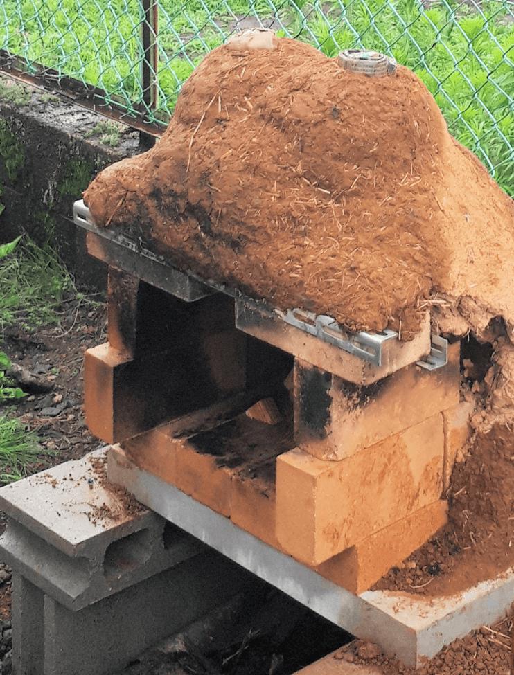 石窯 雨で崩れる