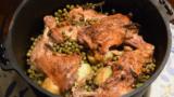石窯+ダッチオーブン~骨付きの鶏もも肉とトマト、ジャガイモの蒸し焼き